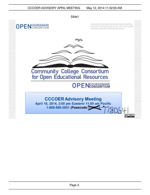 Cccoer Advisory Meeting April 2014