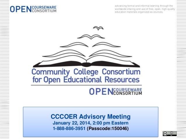 CCCOER Advisory Meeting - Jan 22