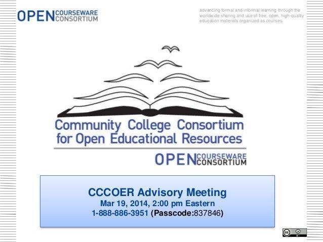 CCCOER Advisory March 19, 2014