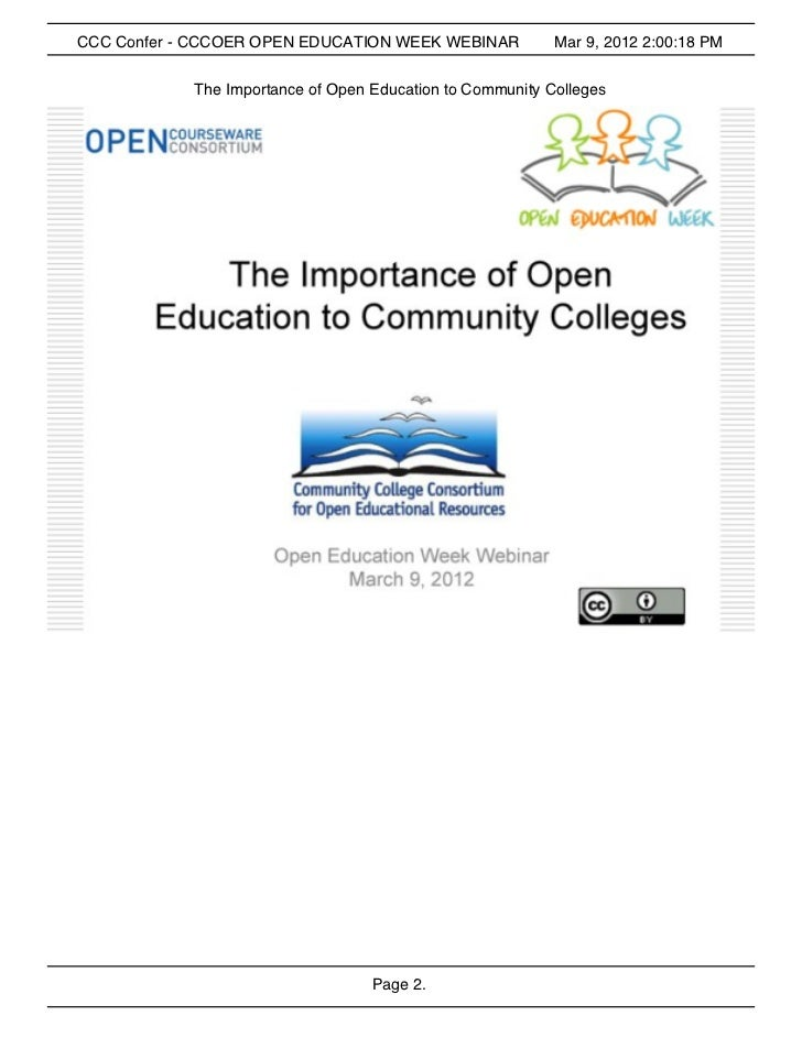 CCCOER The Importance of Open Education at Community Colleges