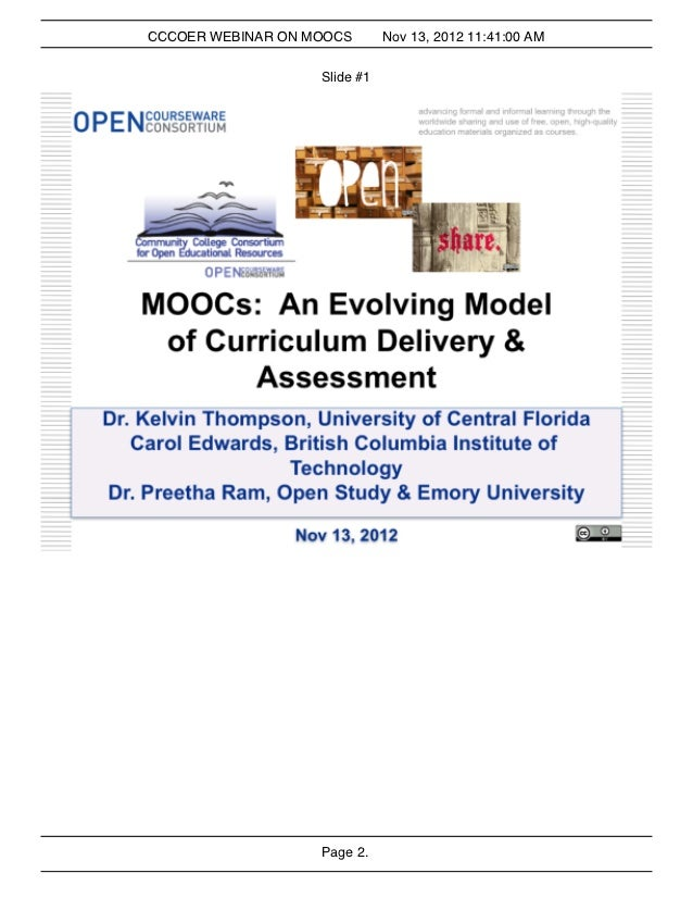 CCCOER Webinar: MOOCs and Evolving Model of Curriculum Delivery and Assessment