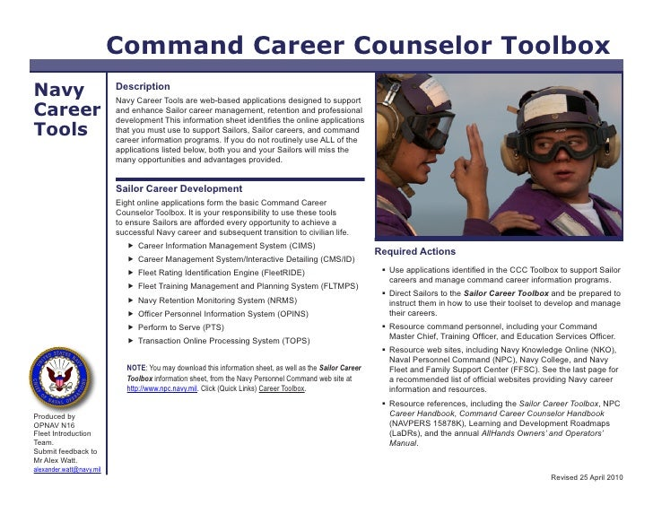 Command Career Counselor Toolbox Navy                      Description                           Navy Career Tools are web...