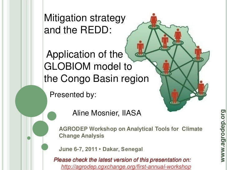 Mitigation strategyand the REDD: Application of theGLOBIOM model tothe Congo Basin region Presented by:                   ...