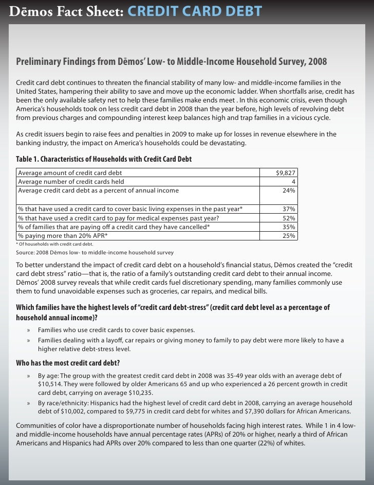 Dēmos Fact Sheet: CREDIT CARD DEBT   Preliminary Findings from Dēmos' Low- to Middle-Income Household Survey, 2008 Credit ...