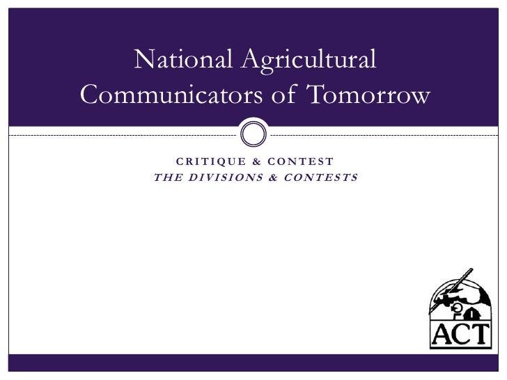 NACT Critique & Contest Divisons