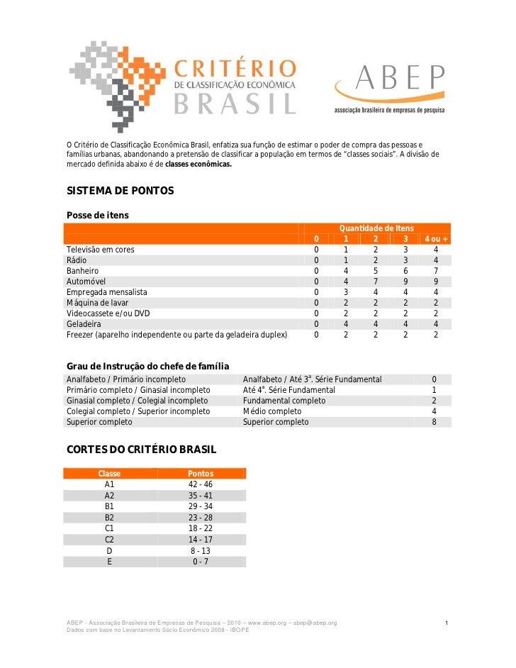 O Critério de Classificação Econômica Brasil, enfatiza sua função de estimar o poder de compra das pessoas e famílias urba...