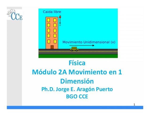 Física Módulo 2A Movimiento en 1 Dimensión Ph.D. Jorge E. Aragón Puerto BGO CCE 1