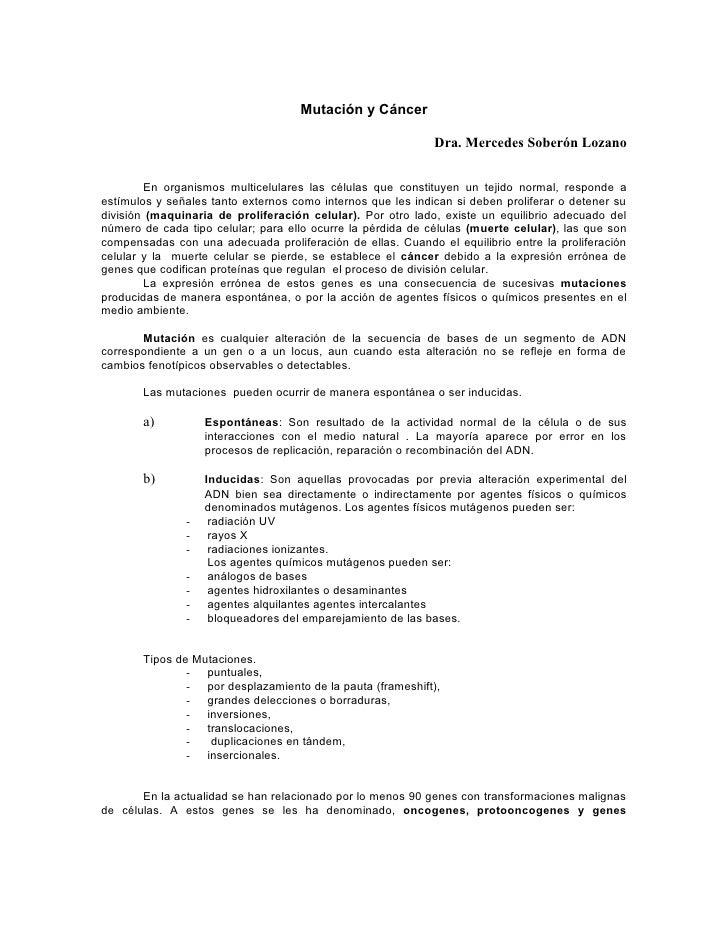 Mutación y Cáncer                                                               Dra. Mercedes Soberón Lozano           En ...