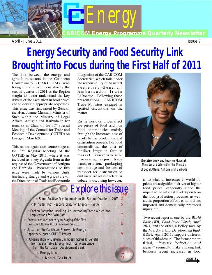 Energy                                       CARICOM Energy Programme Quarterly NewsletterApril - June 2011               ...