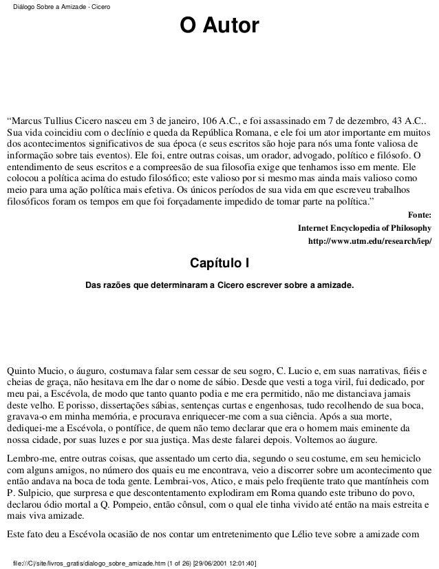 CÍCERO, Marco Túlio. Diálogo sobre a amizade (Laelius de amicitia)