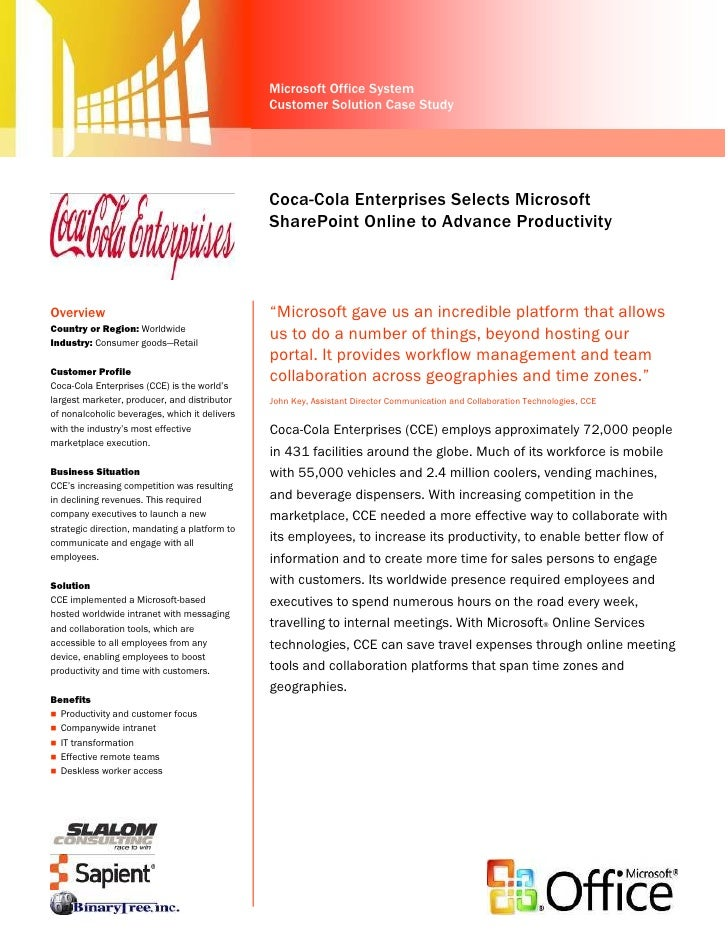 Coca-Cola Enterprises Selects Microsoft SharePoint Online to Advance Productivity