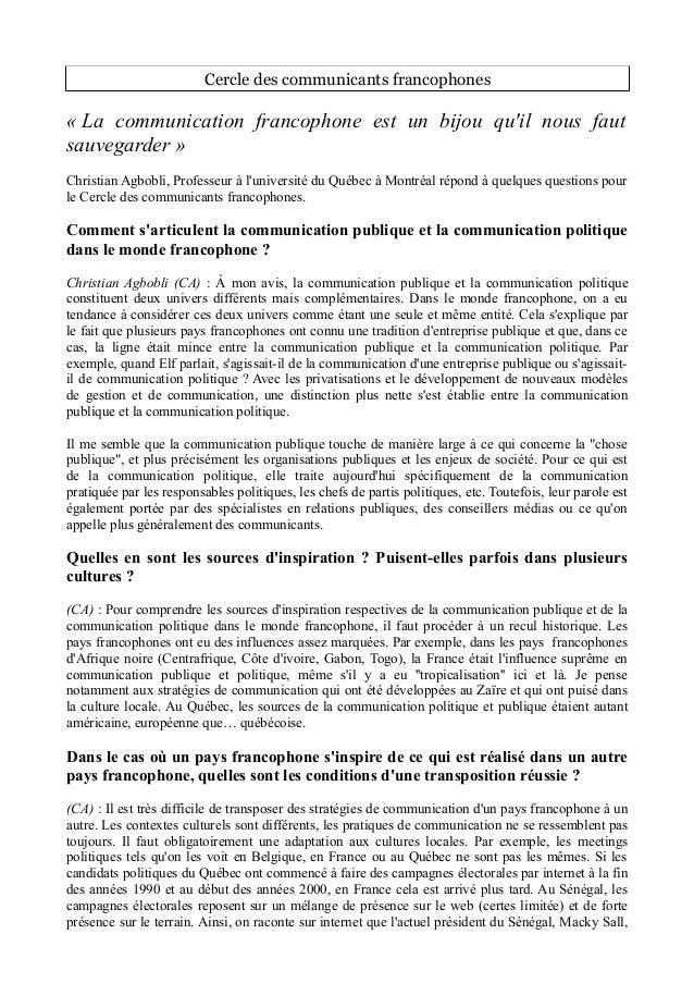 Cercle des communicants francophones  « La communication francophone est un bijou qu'il nous faut  sauvegarder »  Christia...