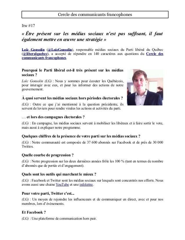 Cercle des communicants francophones Itw #17 « Être présent sur les médias sociaux n'est pas suffisant, il faut également ...