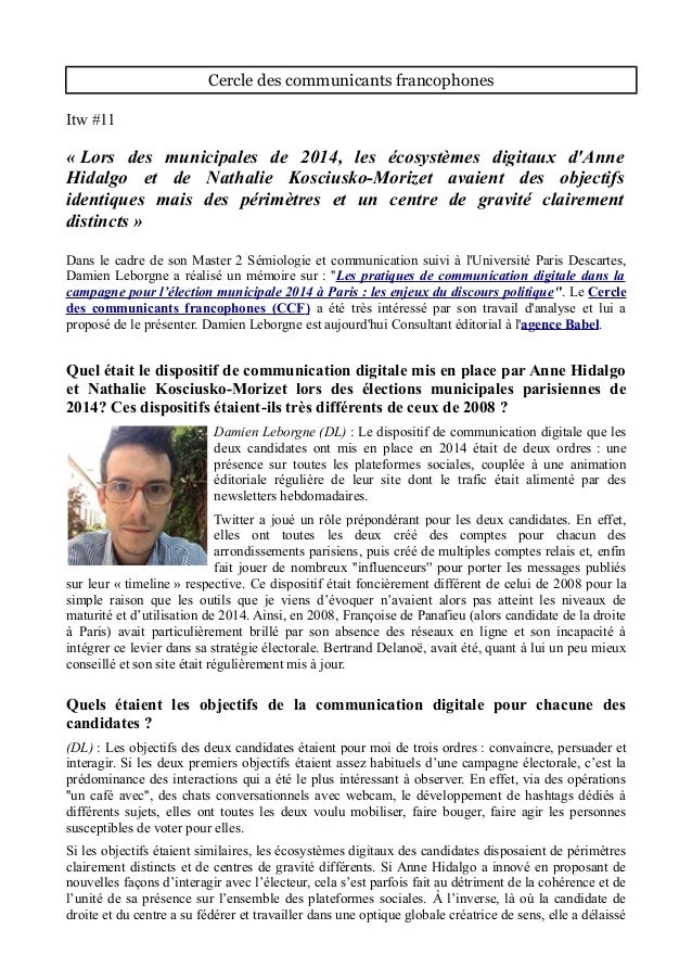 Cercle des communicants francophones Itw #11 « Lors des municipales de 2014, les écosystèmes digitaux d'Anne Hidalgo et de...