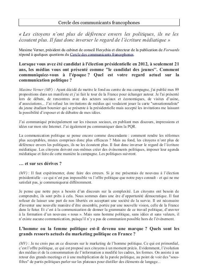 Cercle des communicants francophones « Les citoyens n'ont plus de déférence envers les politiques, ils ne les écoutent plu...