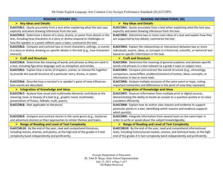 Gr. 5 Standards