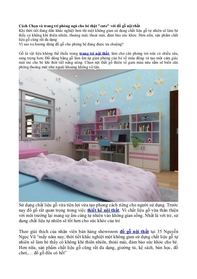 """Cách Chọn và trang trí phòng ngủ cho bé thật """"cute"""" với đồ gỗ nội thấtKhi thời tiết đang dần khắc nghiệt hơn thì một không..."""