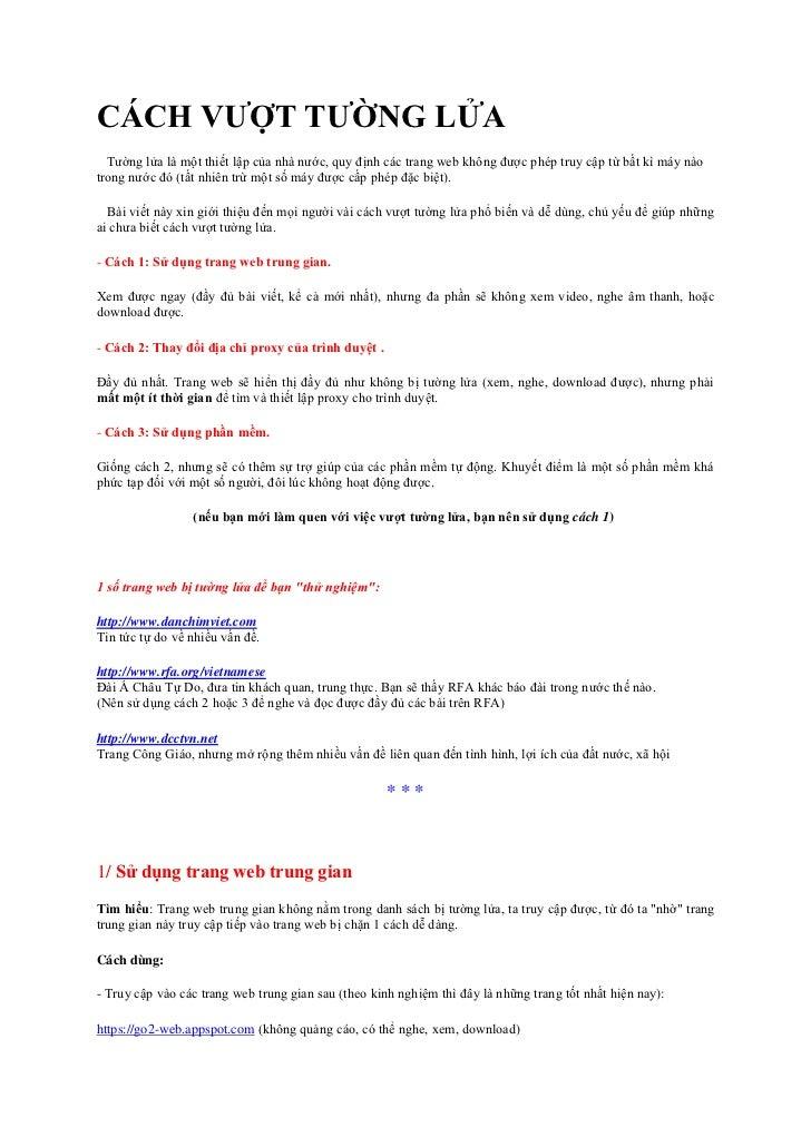 CáCh VượT TườNg LửA Dung Proxy