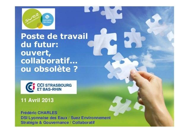 111/04/2013 1Poste de travaildu futur:ouvert,collaboratif...ou obsolète ?11 Avril 2013Frédéric CHARLESDSI Lyonnaise des Ea...