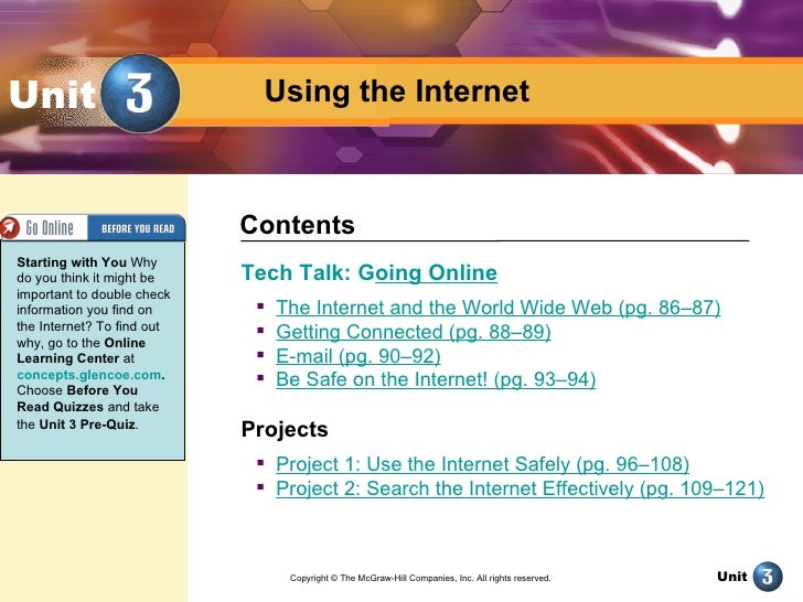 Unit                          Using the Internet                            ContentsStarting with You Whydo you think it m...