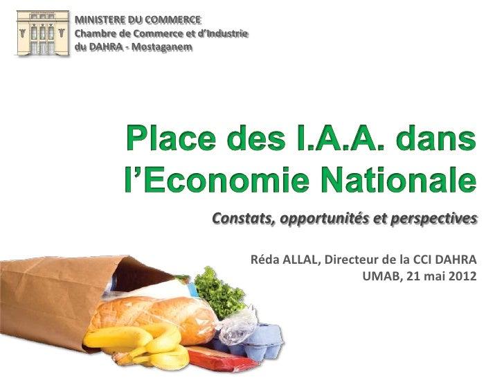MINISTERE DU COMMERCEChambre de Commerce et d'Industriedu DAHRA - Mostaganem                          Constats, opportunit...