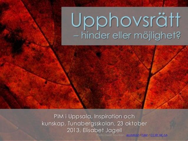 Upphovsrätt  – hinder eller möjlighet?  PIM i Uppsala, Inspiration och kunskap, Tunabergsskolan, 23 oktober 2013, Elisabet...