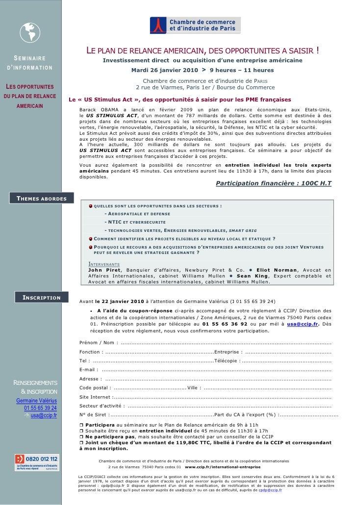 Ccip  Sémiinaire Plan De Relance Americain   26 Janvier (2)