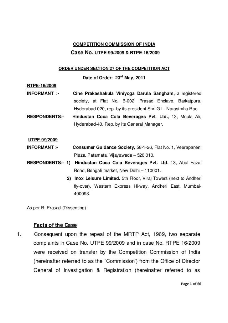 COMPETITION COMMISSION OF INDIA                          Case No. UTPE-99/2009 & RTPE-16/2009                    ORDER UND...