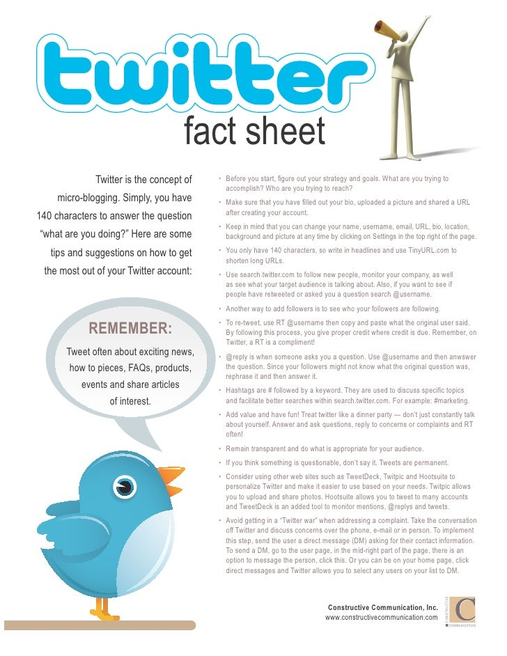 fact sheet              Twitter is the concept of   • Before you start, figure out your strategy and goals. What are you ...