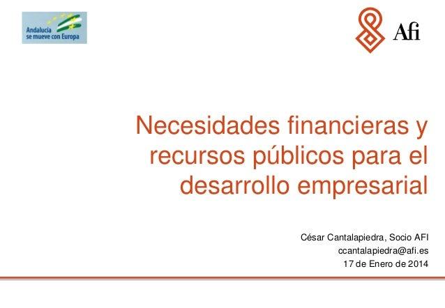 Necesidades financieras y recursos públicos para el desarrollo empresarial César Cantalapiedra, Socio AFI ccantalapiedra@a...