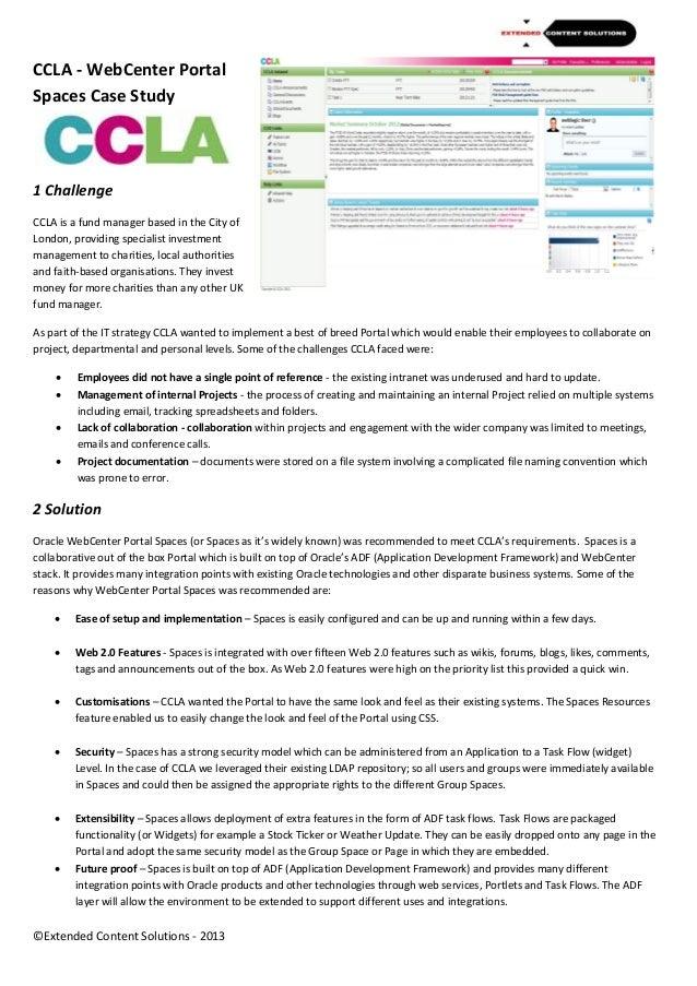 CCLA Oracle WebCenter Portal Spaces Case Study