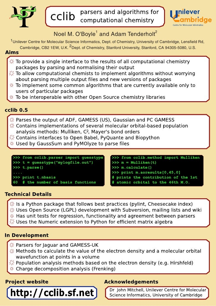 cclib - parsers and algorithms for computational chemistry
