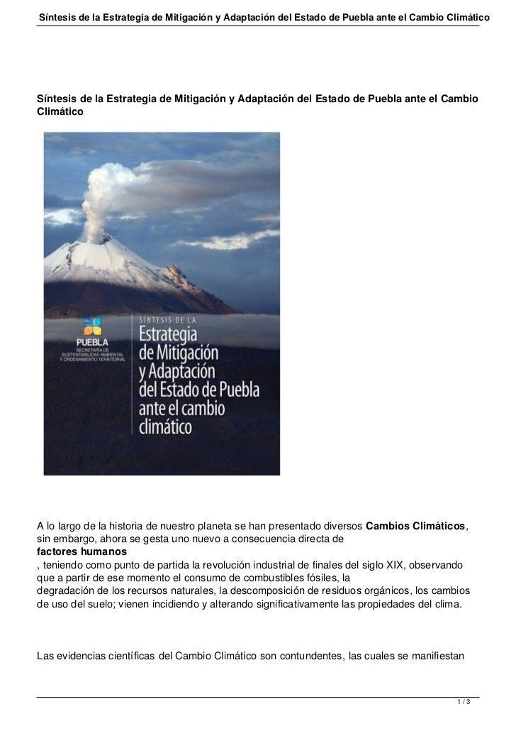 Síntesis de la Estrategia de Mitigación y Adaptación del Estado de Puebla ante el Cambio ClimáticoSíntesis de la Estrategi...