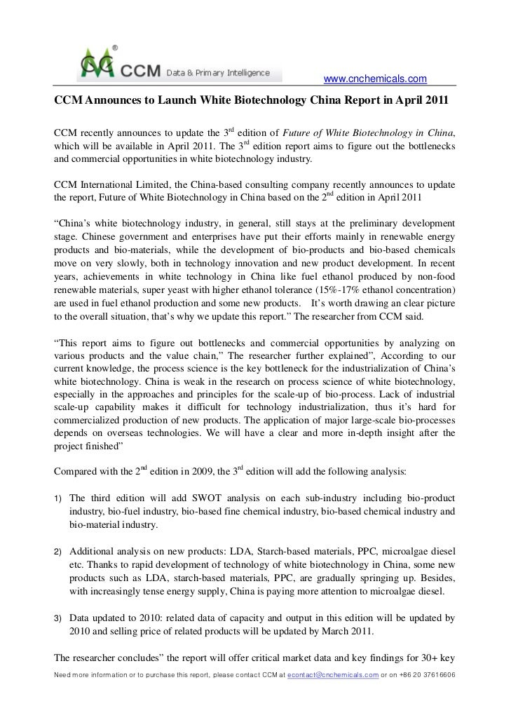 CCM Announces to Launch White Biotechnology China Report in April 2011