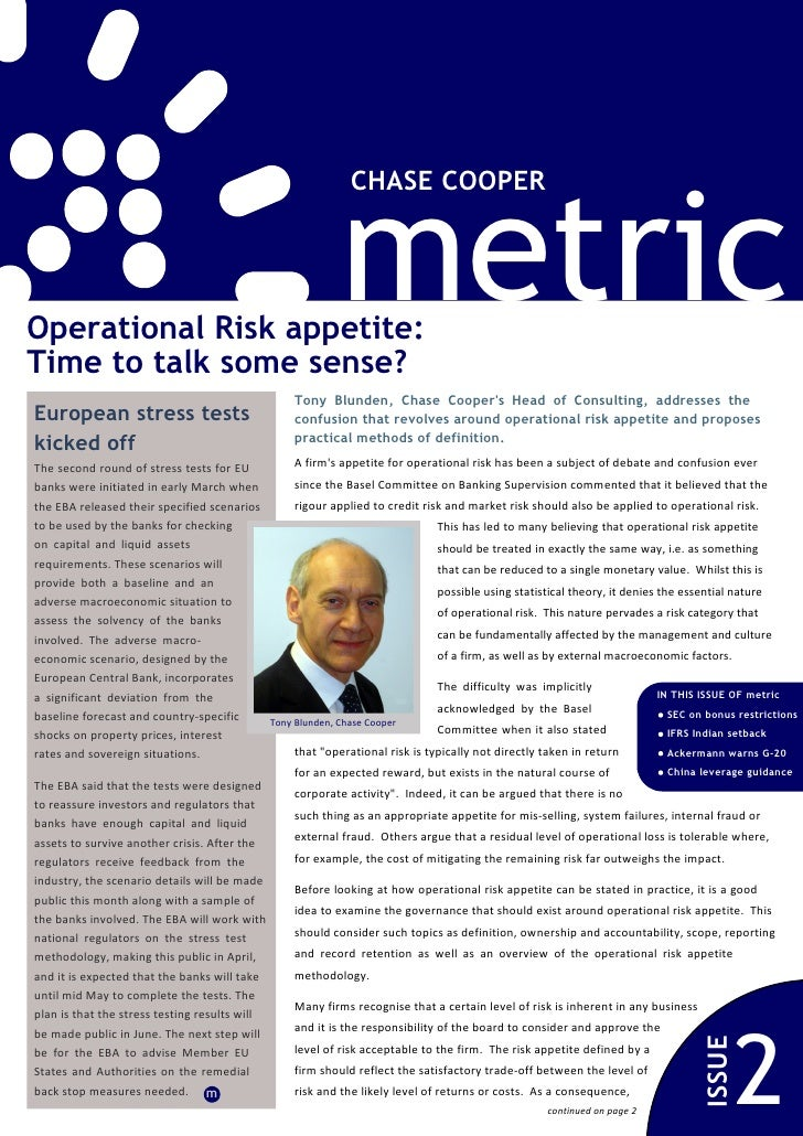 metric                                                              CHASE COOPEROperational Risk appetite:Time to talk som...