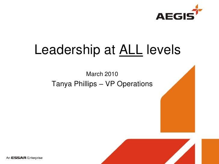 CCMG Leadership Presentation Tanya Smith 31 March 2010