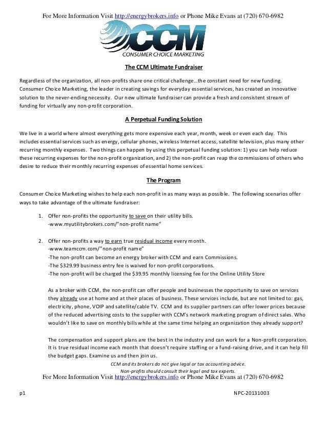 Consumer Choice Marketing (CCM) Non-Profit Application Process