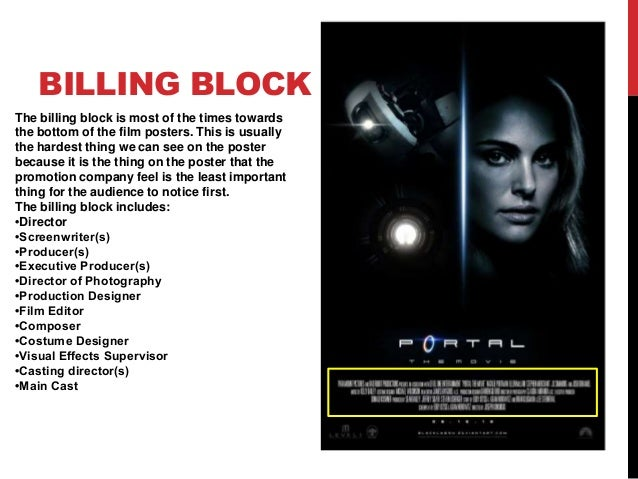 What would i write in the billing block for my movie poster??