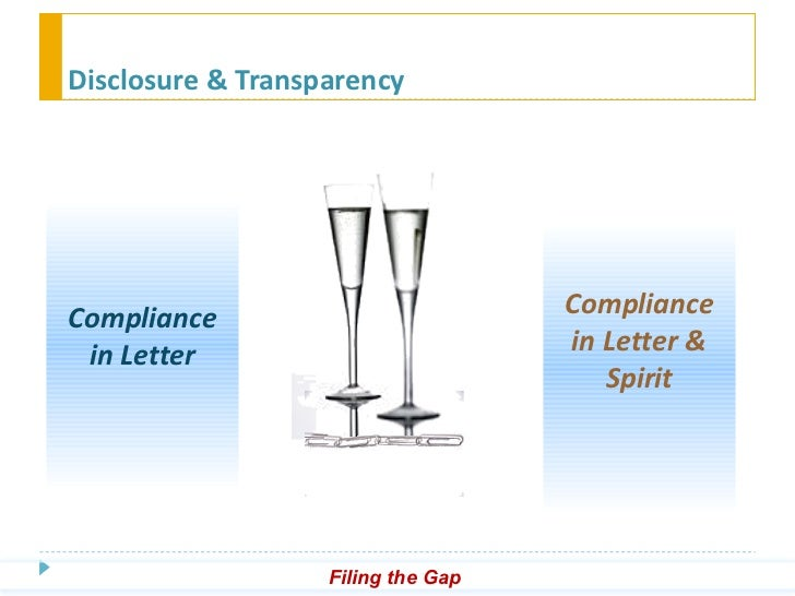 ... transparency compliance in letter compliance in letter spirit filing