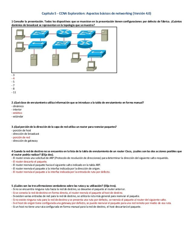 Capitulo 5 - CCNA Exploration: Aspectos básicos de networking (Versión 4.0) 1 Consulte la presentación. Todos los disposit...