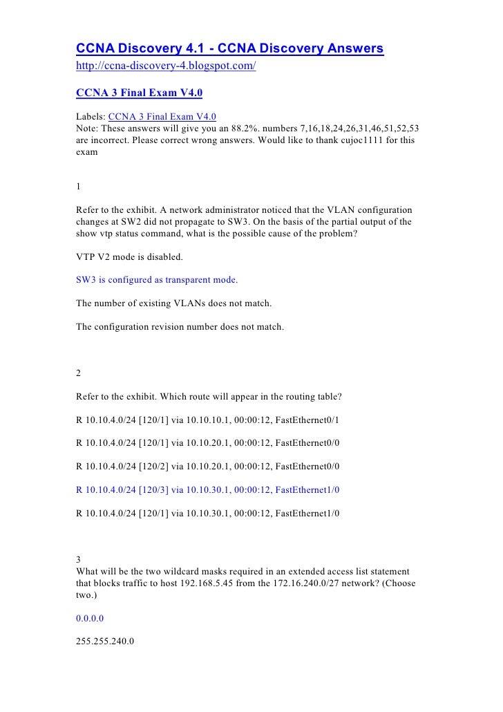 Ccna 3 Final V4.0 Answers