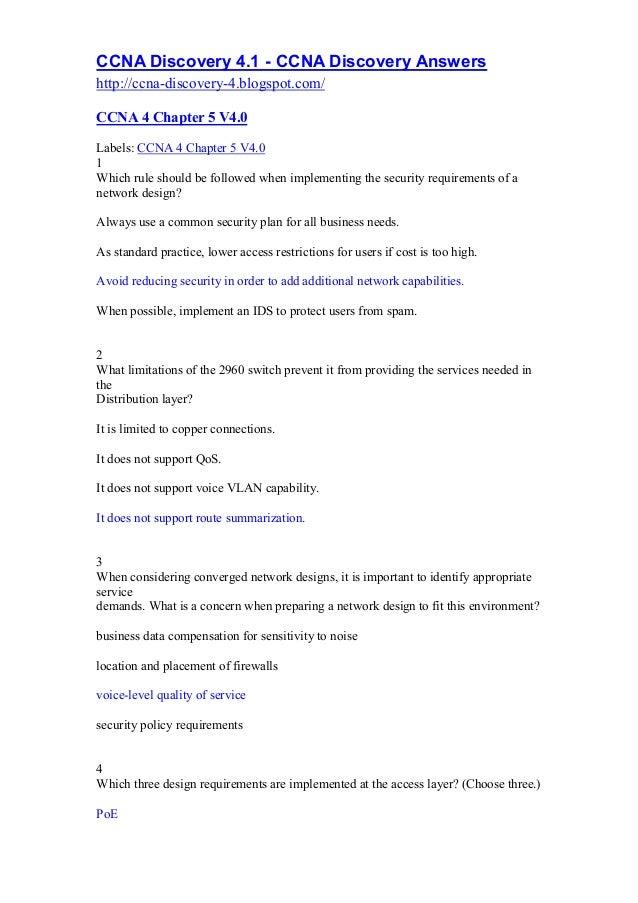 CCNA Discovery 4.1 - CCNA Discovery Answers http://ccna-discovery-4.blogspot.com/ CCNA 4 Chapter 5 V4.0 Labels: CCNA 4 Cha...