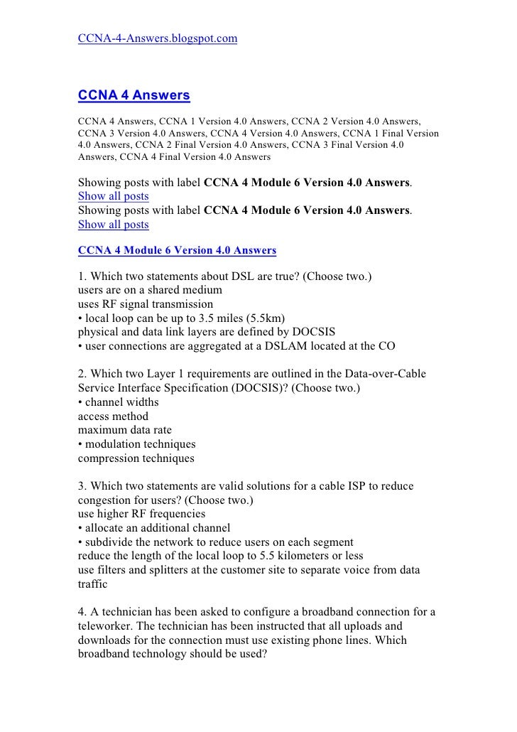 Ccna 4 Module 6 Version 4.0 Answers