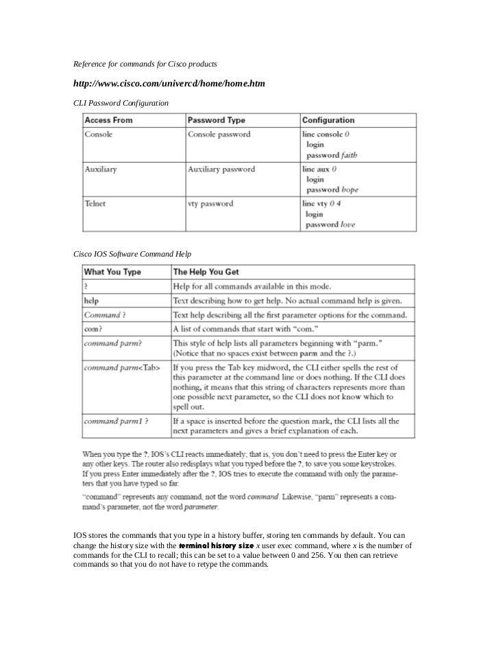 Reference for commands for Cisco productshttp://www.cisco.com/univercd/home/home.htmCLI Password ConfigurationCisco IOS So...