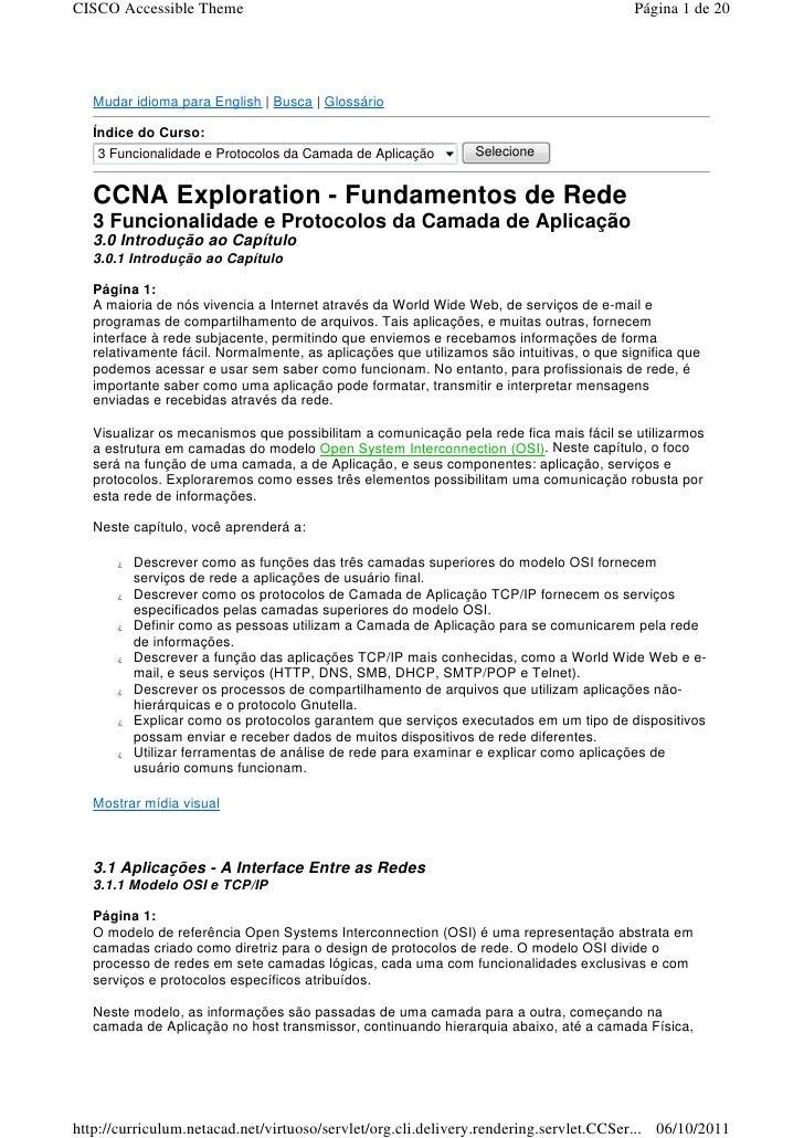 Ccna exploration   fundamentos de rede - 3 funcionalidade e protocolos da camada de aplicação