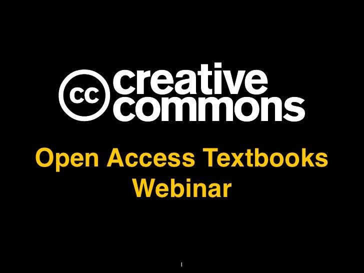 Creative Commons Open Access Textbooks Webinar