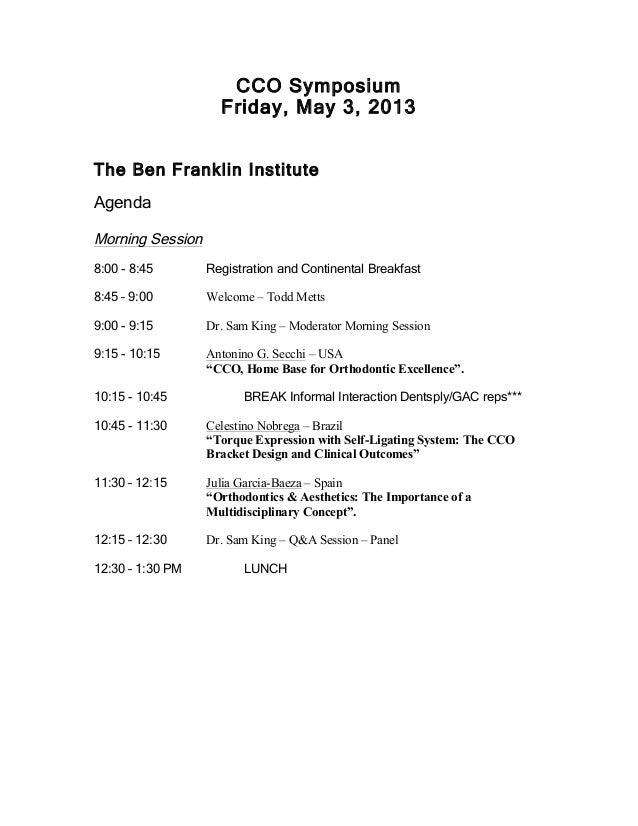CCO Symposium Agenda 2013