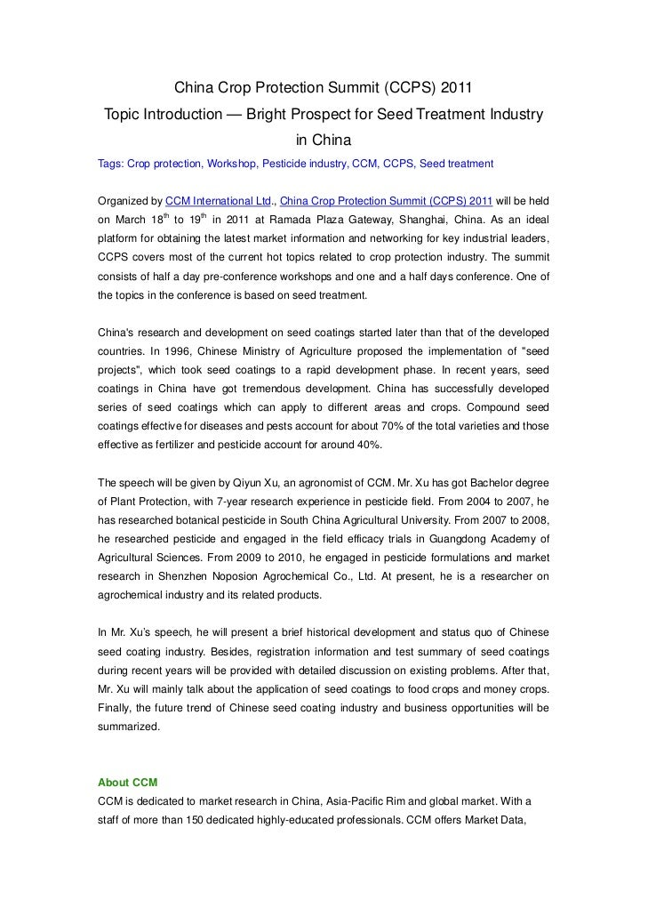 (Ccps)bright prospect for seed treatment industry in china