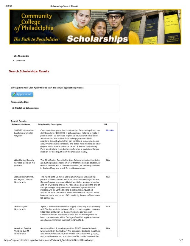 12/7/12                                       Scholarship Search Result          Site Navigation            Contact Us    ...