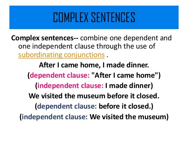 Complex and compound complex sentences in communication for Cuisine sentence